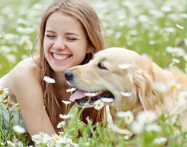 Girl in field with dog, surrounded by flowers and weeds